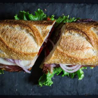 Hot Coppa, Mozzarella, and Roasted Red Pepper Picnic Sandwich.
