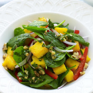 Crispy Polenta, Pepper and Walnut Salad