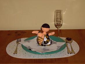 """Photo: """"Kerst Bengeltje"""" tafel decoratie 15 cm hoog Materiaal: Polystyreen/Acrylverf"""