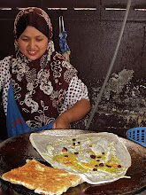 Photo: making egg rotis, Takua Pa roti shop