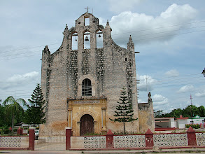 Photo: Church made from stones of Mayan temple
