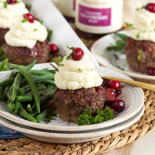 Mini Meatloaf Cupcakes with Cranberry Glaze.