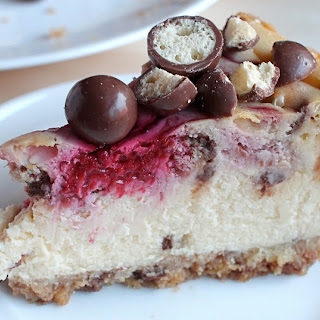Baked Raspberry and Maltesers Cheesecake.