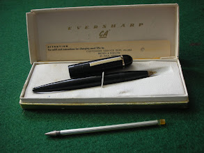 Photo: Eversharp Skyline CA ball-point pen  I was right! The one in the last photo, is a made-up pen - this - just acquired, Sep.2010 - is the real thing. The original ink-reservoir is in the front - as you can see, this screws in to the barrel; I've been able to cobble together a working refil from a cheap modern Bic ball-point, with judicious use of paper wadding inside the pen to hold it in place.  NB - for some reason - perhaps only to differentiate it - the clip on the cap stops at the circular band. On the pens in the previous photo (and the advert in the next), it continues up and over to the other side of the cap, emphasizing the Greek helmet look.