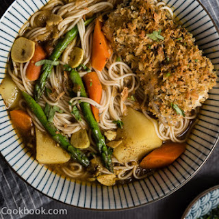 Oven Fried Fish Curry Noodle Soup.