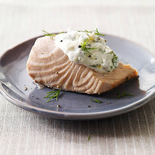 Cold Poached Salmon with Caper-Mayonnaise.