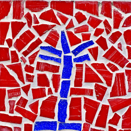 Mosaic Tiles by Richard England - Abstract Patterns ( mosaic wall tiles, mosaic tiles, patterns, mosaic, red and blue,  )