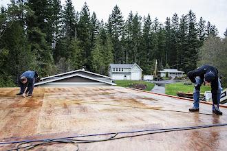 """Photo: Rained 4 1/2"""" yesterday!  Starting the garage rakewall."""