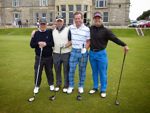 Photo: Ian, Adrian, Al and I just before tee-off on the famous Old Course at St. Andrews