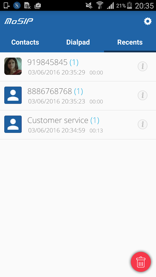 MoSIP Mobile Dialer- screenshot