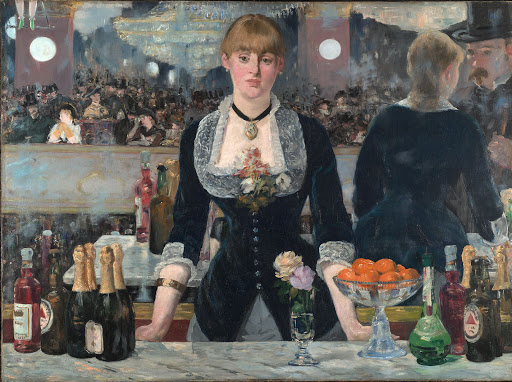 "Edouard_Manet_A_Bar_at_the_Folies-Bergere - ""A Bar at the Folies-Bergère"" (1882), by Edouard Manet. See it at the Courtauld Institute of Art in London."