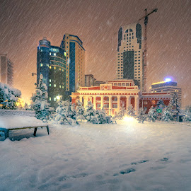 by Steel Hero - City,  Street & Park  Night ( #ulaanbaatar #улаанбаатар #mongolia )