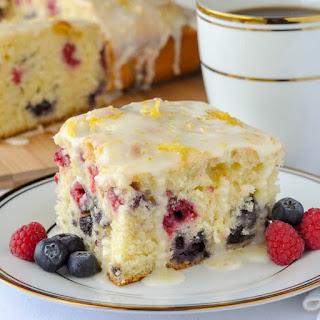 Lemon Drizzle Cake with Raspberries & Blueberries Recipe