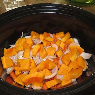 Slow Cooker Coconut Curry Pork Tenderloin with Butternut Squash.