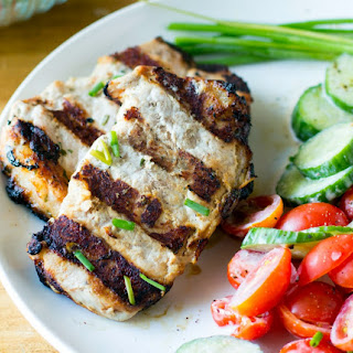 Grilled Ranch Pork Chops & Cucumber Tomato Salad.