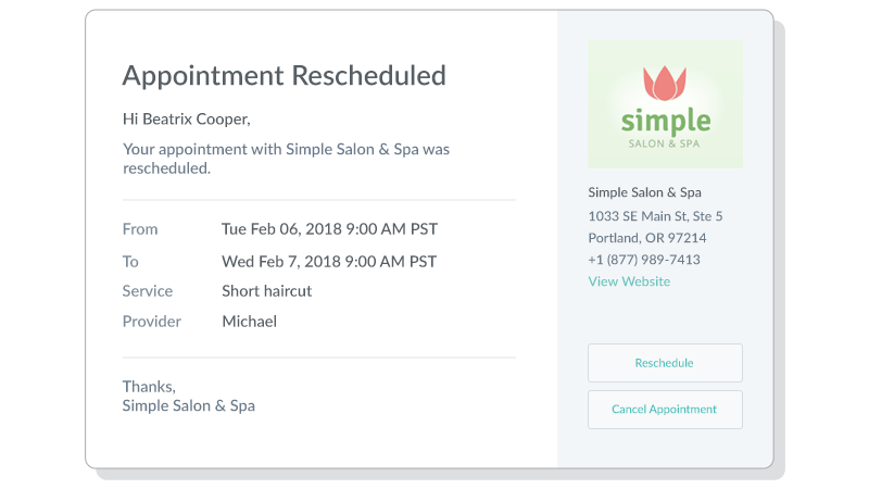 Setmore automatically sends out an email alert to both your team member and your customer for any new, rescheduled, or cancelled appointment.