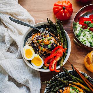 Tahini Gochujang Ramen Bowls with Sumac Roasted Asparagus