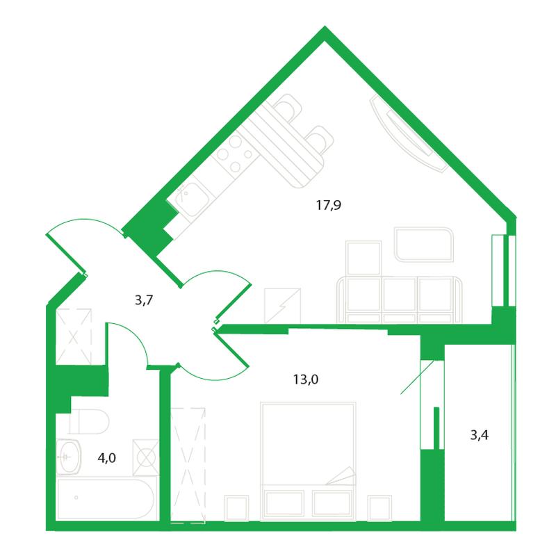 Однокомнатная квартира с пятиугольной кухней
