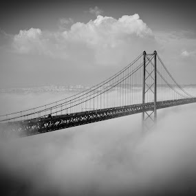 Lisbon´s Golden Gate by Renato Marques - Buildings & Architecture Bridges & Suspended Structures ( clouds, hazel, 25 de abril, almada, bridge, lisbon, golden gate, , black and white, b&w, landscape )