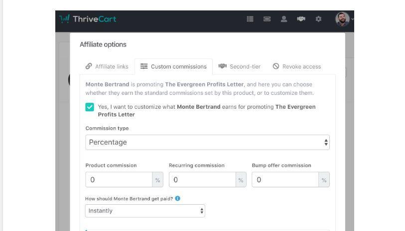 ThriveCart Affilate options