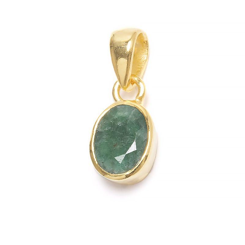 Smaragd, månadssten för maj i guldpläterat silverhänge