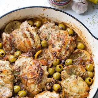 Saucy Skillet Chicken with Lemons and Olives.