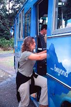 Photo: Helen Ennals boards the Flying Kiwi bus
