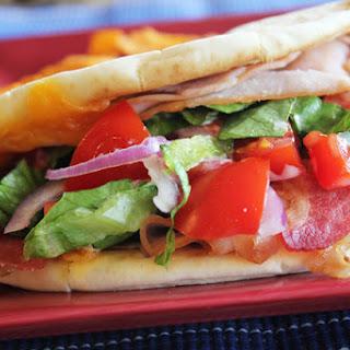 Turkey Bacon Ranch Flatbread Sandwich.