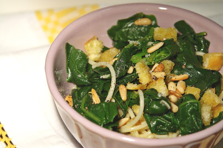 SautéEd Spinach with Croutons, Pine Nuts and Spaghetti Recipe