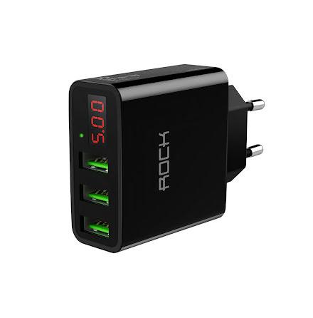 ROCK T14 USB lader, 3 porter, 5V, 3.0A, LED display, sort