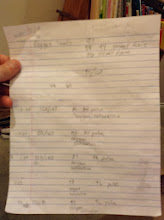 Photo: Cathi's notes of the stats that Chad had her write down during their monitoring of me.