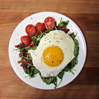 Crispy Speck and Fried Egg Arugula Salad