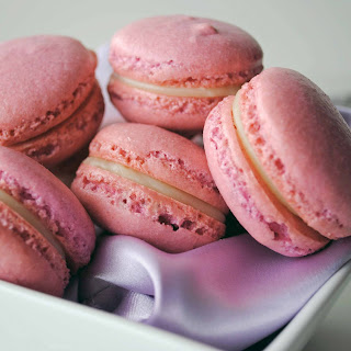 French Macarons with White Chocolate Lavender Ganache.