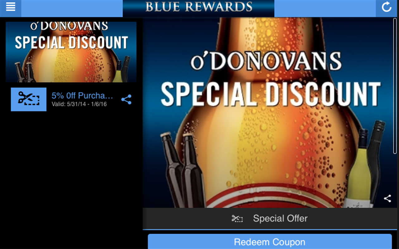 O'Donovan's Blue Rewards- screenshot