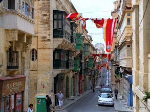 Photo: Valletta. St. Paul Street brightly decorated.  http://www.loki-travels.eu/