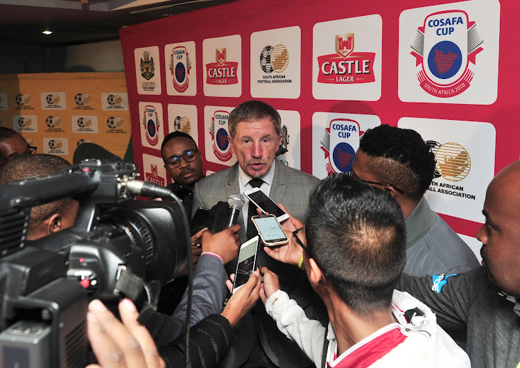 Bafana Bafana head coach Stuart Baxter speaks to reporters during the Cosafa Cup launch and draw at SAFA House, Johannesburg on 18 April 2018.