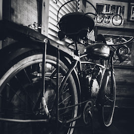 by William Boyea - Transportation Motorcycles ( motorcycle, wheels, vintage, black and white )