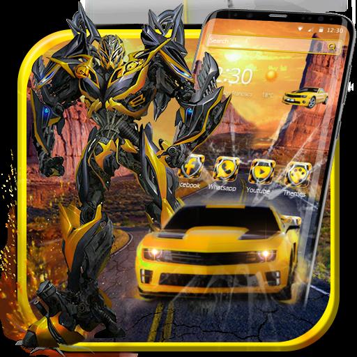 3D Yellow Transform Bee Robotic Battle Theme