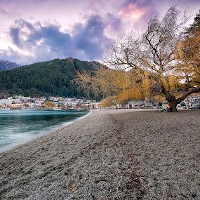 Lover's Concerto... by Gary Kuen - Landscapes Travel ( lake wakatipu, lovers, tree, sunset, beautiful, new zealand )