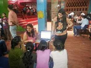 """Photo: Delhi, India - A team of 20 volunteers visited SBT's shelter home for girls, """"Arushi,"""" housing 50 girls aged between 5 and 18. The team organized an education session on various Google products."""