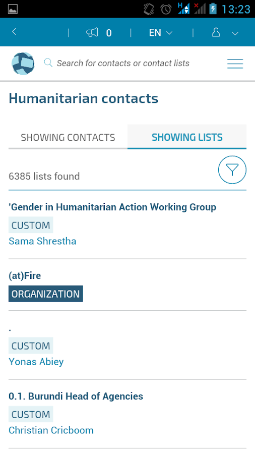Humanitarian ID- screenshot