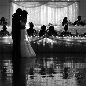 First Dance by Dave Skorupski - People Couples ( reflection, hall, b&w, black and white, beauty, party, wedding party, reception, silouette, wedding, bride, dance, groom, , Travel, People, Lifestyle, Culture )
