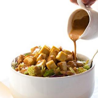 Crispy Baked Tofu Salad with Thai Salad Dressing.