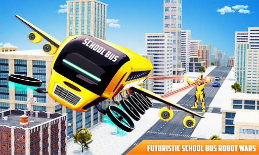 Flying School Bus Robot: Hero Robot Games Apk 1