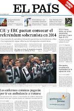 """Photo: CiU y ERC pactan convocar el referéndum soberanista en 2014, EE UU lanza todas sus armas monetarias para que el paro baje al 6,5%, cien países reconocen la legitimidad de la oposición siria, los enfermos crónicos pagarán por ir en ambulancia a tratarse y los jueces piden a Gallardón """"altura de miras"""", entre los titulares de nuestra portada del 13 de diciembre de 2012. http://srv00.epimg.net/pdf/elpais/1aPagina/2012/12/ep-20121213.pdf"""