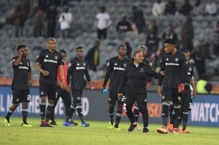 Orlando Pirates players during the Absa Premiership match between Orlando Pirates and Bidvest Wits at Orlando Stadium on August 15, 2018 in Johannesburg, South Africa.