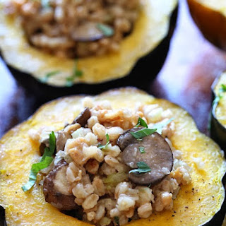Farro and Sausage Stuffed Roasted Acorn Squash