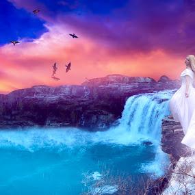 Waterfall... by Ilkgul Caylak - Digital Art Things ( places, woman, nature, waterfall, girl, female, landscape )