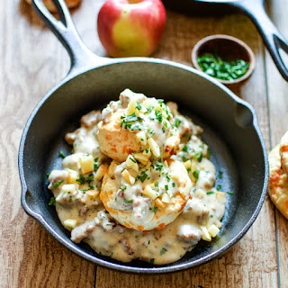 3-Ingredient Cheesy Biscuits with Apple Sausage Gravy