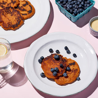 Sweet Potato Pancake with Coconut and Berries.